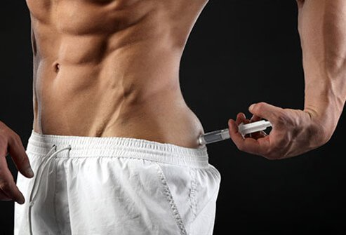 Picture of a person taking anabolic steroid injection
