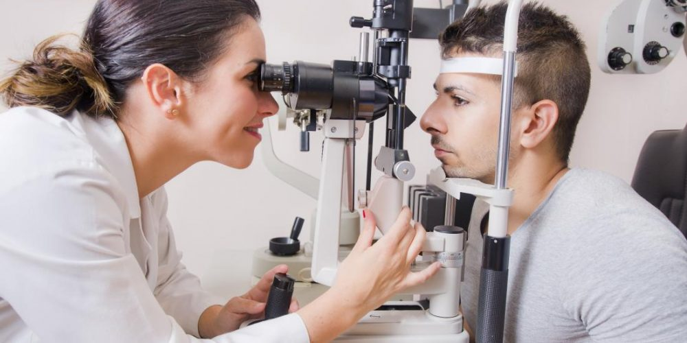 What is a slit lamp exam?