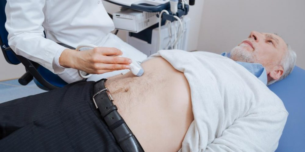 What can we see with an abdominal ultrasound?